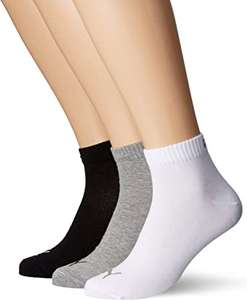 Puma Unisex Quarter Plain Socks (3 Pair Pack) 100% Cotton - £5.99 (+£4.49 Non-Prime) @ Amazon