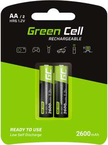 Green Cell 2600mAh 1.2V AA Rechargeable Batteries, Pack of 2 £3.45 (Prime) / £7.94 (non Prime) Sold by GreenCellPro & FB Amazon.