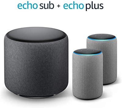 Echo Plus Stereo System – 2 Echo Plus (2nd Gen), Sandstone Fabric + 1 Echo Sub £299.97 Amazon