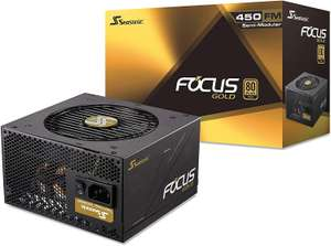 Seasonic 450 Watt FOCUS Gold, Hybrid Modular, 80PLUS Gold, 37A, 120mm Fan, PSU/Power Supply, £58.98 delivered at Scan - 7 Years Warranty