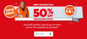 50% off RAC breakdown cover personal cover from £4.50 per month for 12 months