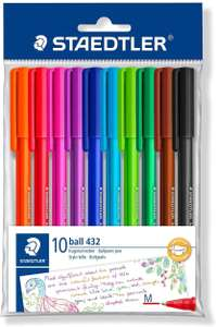 Pack of 10 STAEDTLER Medium Rainbow Ballpoint Pens, Assorted Colours, £2.79 (+£4.49 non prime) at Amazon