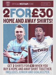 West Ham Football Shirts 2 for £30 + £4.99 delivery at West Ham United Store