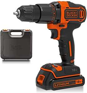 BLACK & DECKER 18 V Combi Drill (hammer action) with Kitbox and 1.5 Ah Li-Ion Battery, sold and delivered by Amazon - £50