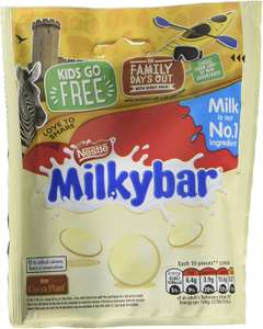 Milkybar Giant Buttons White Chocolate Sharing Bag, 103 g (8 bags) (S&S £7.20) or £8 + £4.49 NP @ Amazon