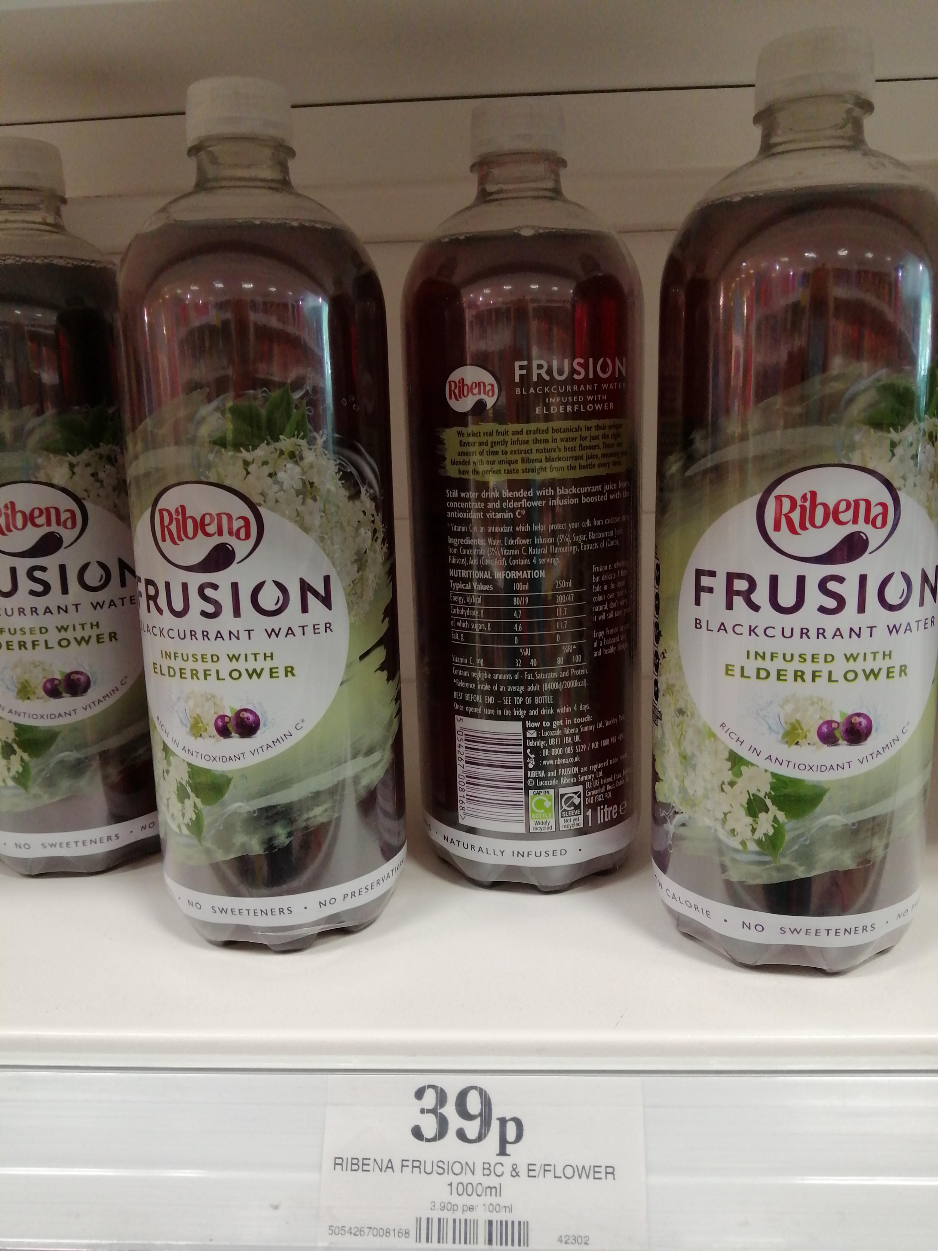 1Lt Ribena Frusion Blackcurrant & Elderflower water @ 39p at Home Bargains, in-store Bidston Moss (Wirral)