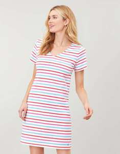 Joules Womens Riviera V Neck Jersey Dress - WHITE BLUE PINK STRIPE £11.66 Delivered at Joules Ebay Outlet
