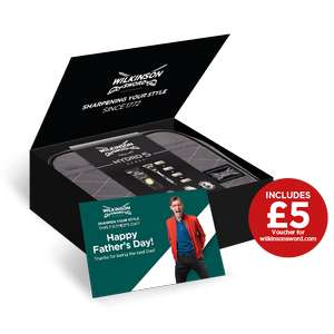Fathers Day Bundle - Razor/Blade, 4 x Blades, Shave Gel, Wash Bag, £5 Voucher & Card £15 & Free Delivery at Wilkinson Sword