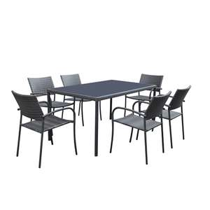 6 seater glass top garden table and chairs £200 + £10 del @ Homebase