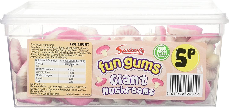 Swizzels Fun Gums Giant Mushrooms Tub (120 count RRP 5p each) £4.45 Amazon Prime / £8.94 Non Prime