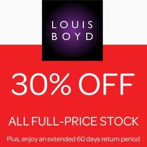 30% OFF all full priced stock at Louis Boyd Menswear - £3.95 delivery / free over £30