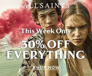 30% off everything at AllSaints including up 50% sale (excludes outlet) + Free Delivery for Prime Members using Amazon Pay (otherwise £3.95)
