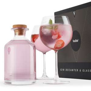 VonShef 825ml glass gin decanter & two balloon glasses set for £16.99 delivered @ eBay / Domu