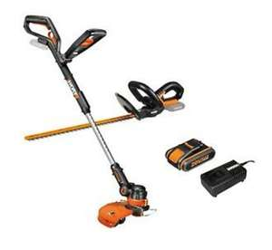 WORX WG914E 18V (20V MAX) Grass Trimmer & Hedge Trimmer Twin Pack - includes 2.0ah battery and charger, £119.99 ebay / positecworx