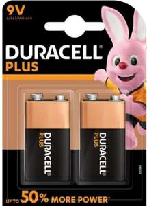 Duracell Plus Power Type 9 V Alkaline Batteries, Pack of 2 £4.49 was £6.99 @ Amazon (+£4.49 non-prime)
