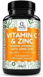 Vitamin C 1200mg & Zinc 40mg - 120 Vegetarian Capsules - £11.19 prime / £15.68 non Prime Sold by Nutravita and Fulfilled by Amazon.