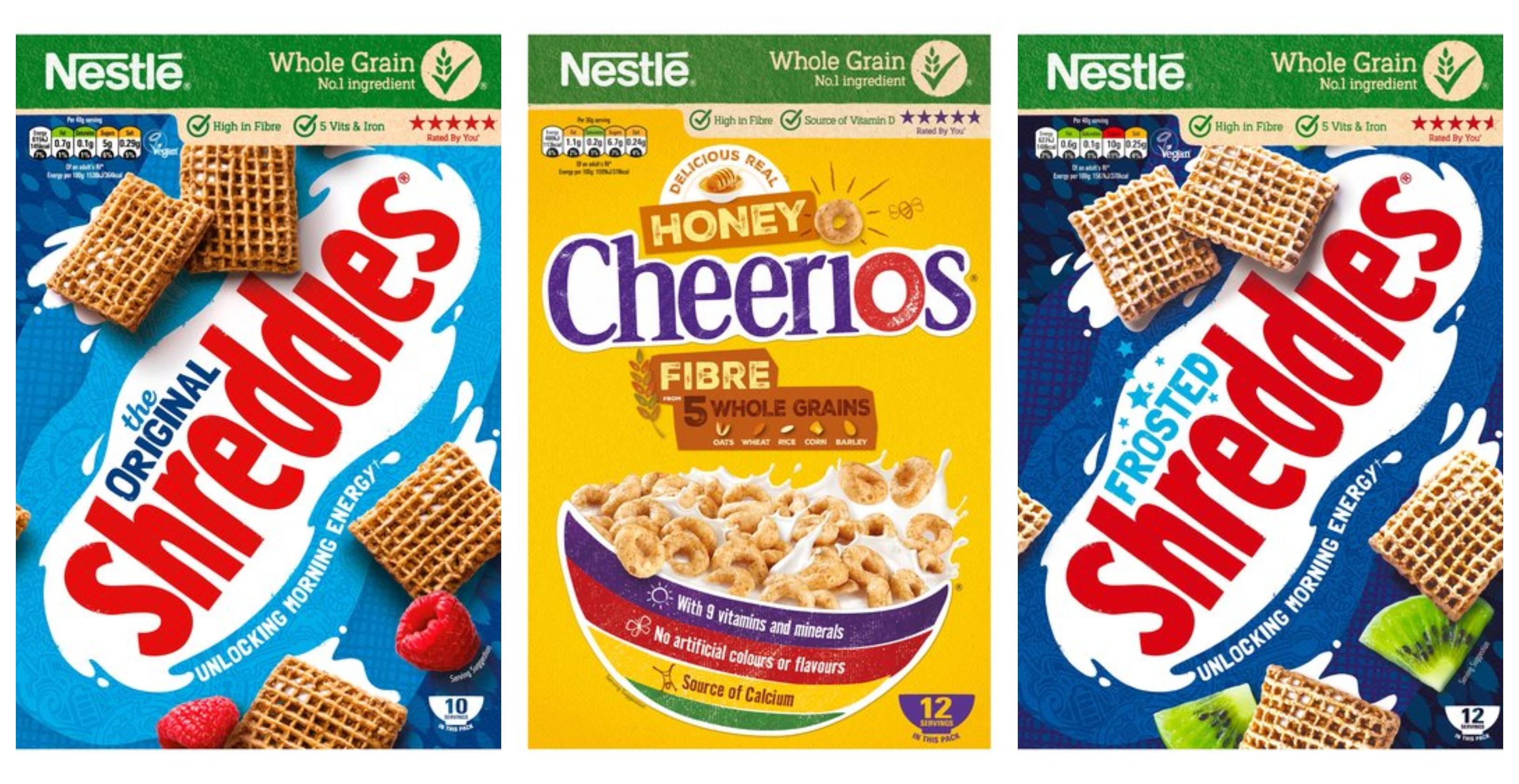 Nestle Shreddies Original Cereal 415g £1.05 / Nestle Shreddies Frosted Cereal 500g £1.40 / Nestle Cheerios Honey Cereal 375g £1.30 @ Tesco