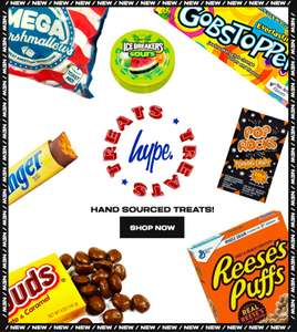 American Sweet Treats from £1 & Free delivery @ Just Hype (May require new account)