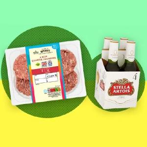 4 x British Beef Quarter Pounders & 4 x 330ml bottles Stella Artois / Heineken = £4 @ Morrisons