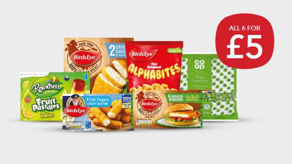 Co-op £5 Freezer Fillers (Birds Eye Chicken Grills/ Burgers/ Alphabites/ Fish Fingers, British Garden Peas and Rowntree Ice Lollies) @ Co-op