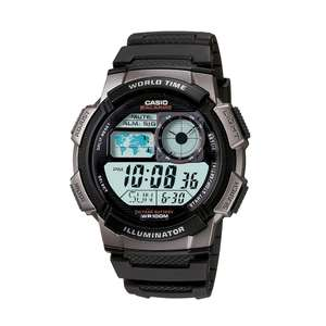 Casio Men's Black Resin World Time Digital Watch AE-1000W-1BVEF Now £16.99 Free delivery @ H Samuels