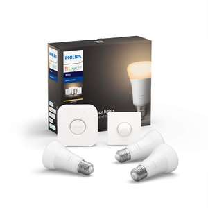 Philips Hue White Starter Kit, Smart Bulb 3 x Pack LED (E27) Includes Hue Button and Bridge £66.04 at Amazon