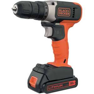 Black & Decker Cordless Drill Driver 18V Li-ion with 1.5Ah Battery - £32 + £5 delivery at Wilko