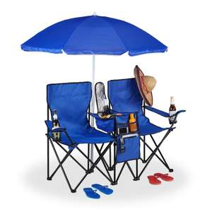 Double Camping Chair with Storage and Parasol £29.98 Delivered From Studio