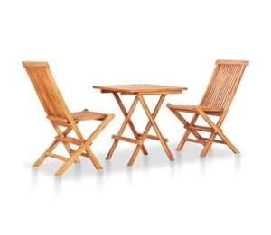VidaXL Solid Teak Folding Bistro Set (Small table + 2 Chairs) £122.99 @ vidaXL (£5 off via newsletter + possible cashback)