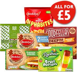 Nisa £5 Meal Deal (Birds Eye Chicken Grills/ Burgers/ Alphabites, Goodfellas Pizza, British Garden Peas and Rowntree Ice Lollies) @ Nisa