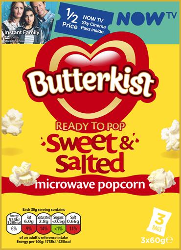1/2 price one month NOW TV Sky Cinema on packs of Butterkist - £2.09 @ Waitrose & partners