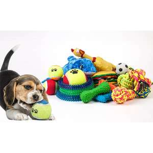 10 x Dog toys. Variety for puppies and dogs to play with - £10 @ Yankee Bundles