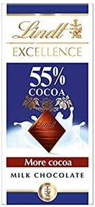 Lindt Excellence Milk 55% Cocoa Chocolate Bar - High Cocoa - 80 g: £1 Prime / £5.49 Non-Prime