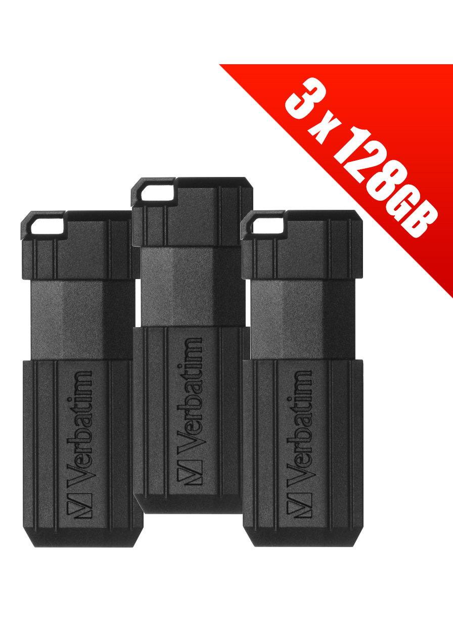 3 x Verbatim 128GB PinStripe Pen USB flash drives. (Multipack of 3 x 49071 Verbatim USB drives) - £21.99 delivered @ base.com