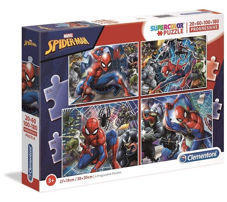 Clementoni Spiderman-20pc + 60pc + 80pc + 180pc Puzzle Set (340 pieces in total), Multi-Coloured £4.09 (Prime + £4.49 NP) @ Amazon