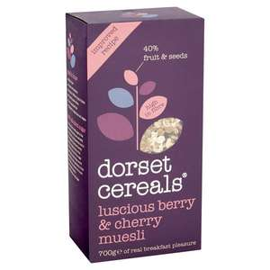 Dorset Cereals Luscious Berry and Cherry Muesli 700g or Simply Fruit Muesli 820g or Gluten Free Blissful Berry £1 Heron Foods Abbey Hulton