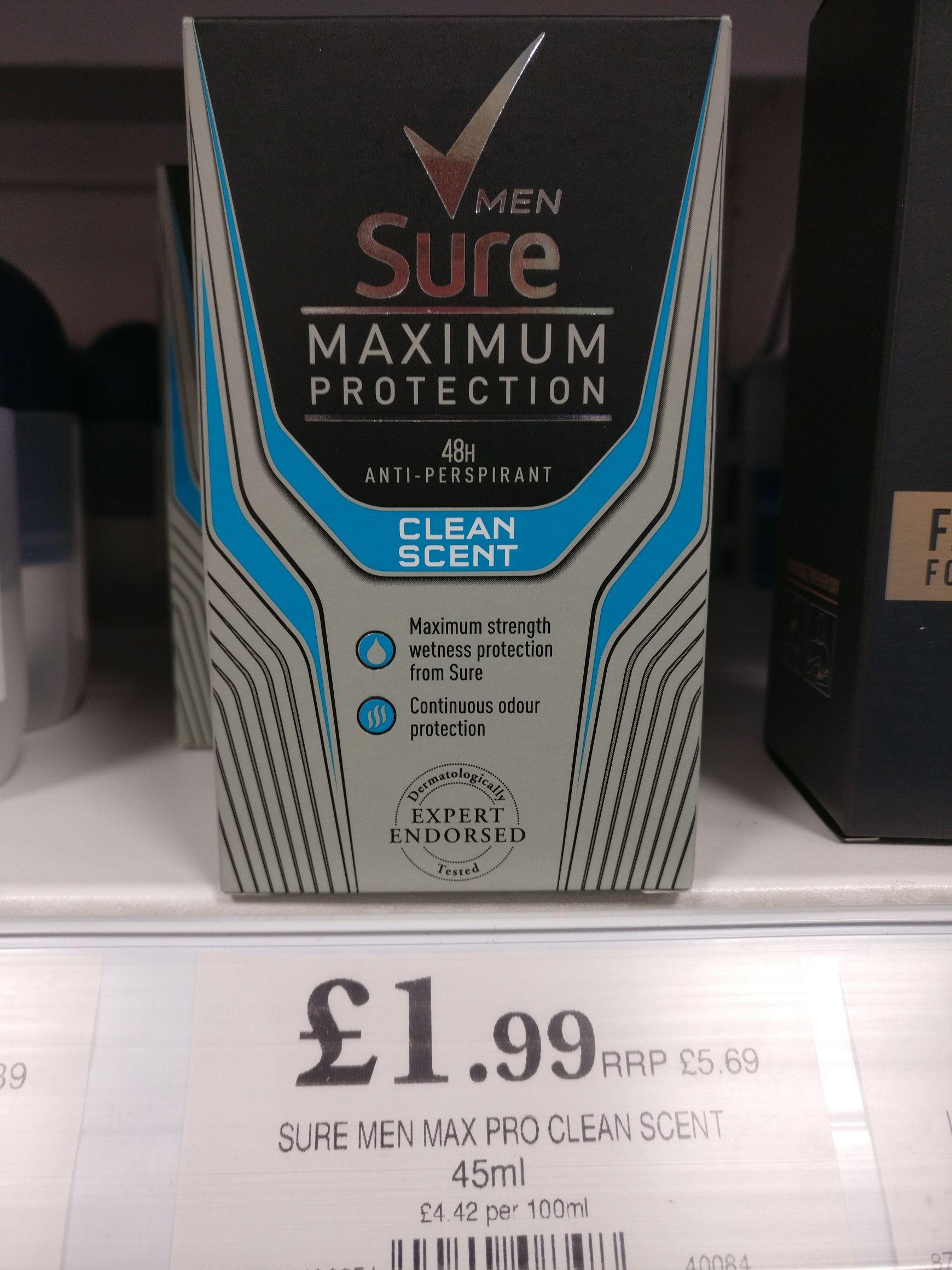 Sure Mens' Maximum Protection Deodorant, Clean Scent, £1.99 @ Home Bargains, Poulton-le-Fylde