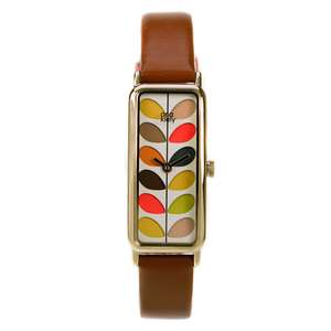 Orla Kiely Watch OK2104 Stem Print Ladies With Tan Leather Strap - £21.59 and free delivery using code at Hogies
