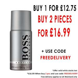 TWO HUGO BOSS, Boss Bottled Fragranced Deodorant 150ml Spray for £16.99 + Free Delivery with code Beauty Bay