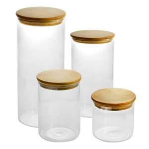 Set of 4 Glass Storage Jars with Bamboo Lids   M&W - £8.99 / £11.94 delivered @ Roov