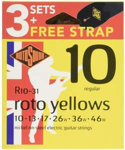 Rotosound R10-31 Electric Guitar Strings with Strap (Pack of 3) - £10.35 Prime / +£4.49 non Prime @ Amazon