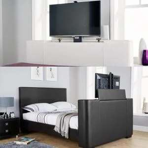 Newark Electric TV Bedstead White Double Without Mattress £395 OR Black King With Mattress £480 - Poss Extra £20 Off @ Groupon