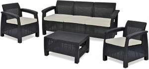 Keter Corfu Outdoor 5 Seater Rattan Sofa Furniture Set with Accent Table, Graphite with Cream - £299.99 @ Amazon