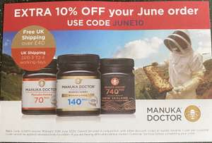 10% off and free delivery when spending £40+ at Manuka Doctor