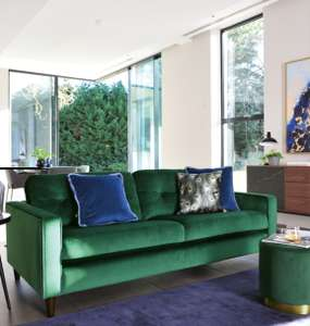 Bergen three seater sofa forest green velvet £868.99 @ Dwell