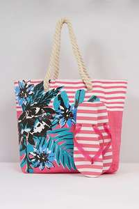 Tropical Stripe Pink Beach Bag + Flip Flop Set - £3 / £7.99 delivered @ Studio