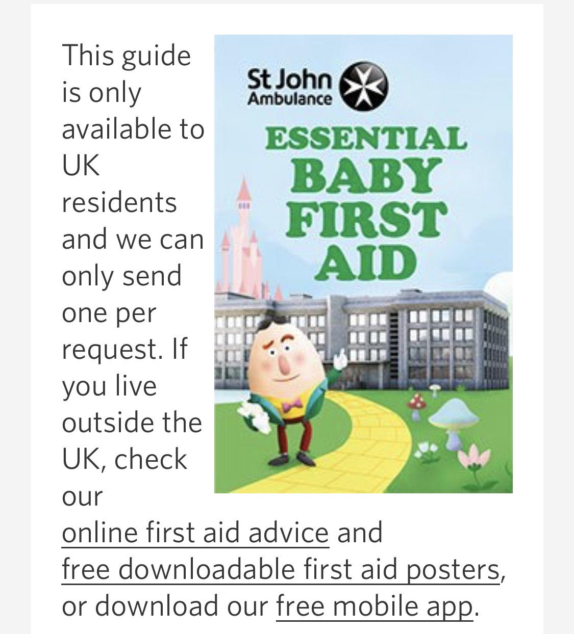 Free baby first aid guide @ St John Ambulance