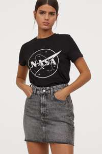 Women's Black NASA T-Shirt - £6.99 with Free Delivery @ H&M