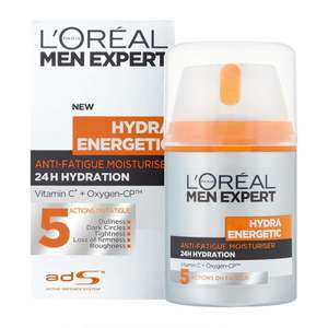 L'Oreal Paris Men Expert Hydra Energetic, Anti-Fatigue Moisturiser for Men, 50 ml £4.75 S&S, £5 Prime (+£4.49 NP) at Amazon