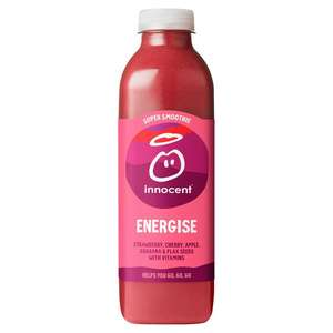 750ml, Innocent Super Smoothie Energise Strawberry, Cherry, Guarana & Flax Seeds. 89p at Heron Foods Abbey Hulton